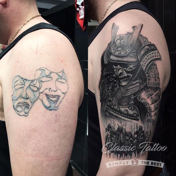 Исправление татуировки фото до и после