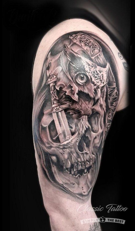 Фото мужского тату в стиле реализм - сова