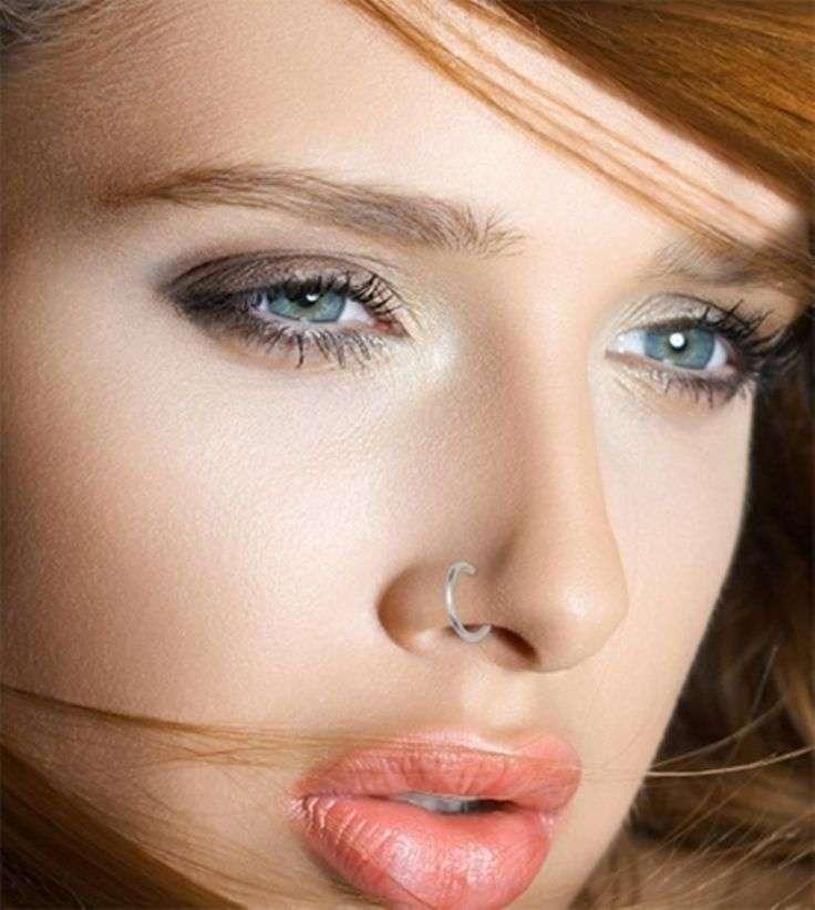 Сережка в нос (83 фото): как называется, как вставить золотые серьги, обманка, виды, маленькая с бриллиантом
