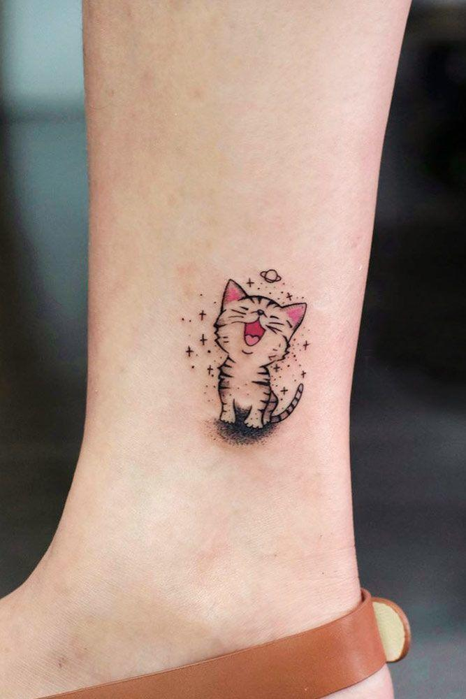 Цветная мини тату в виде котенка