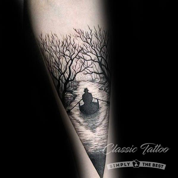 Тату в стиле блэкворк для мужчины - лодка на реке и деревья
