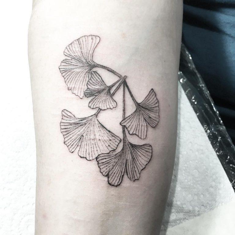 Листья гинкго на руке девушки - тату в стиле гравюра