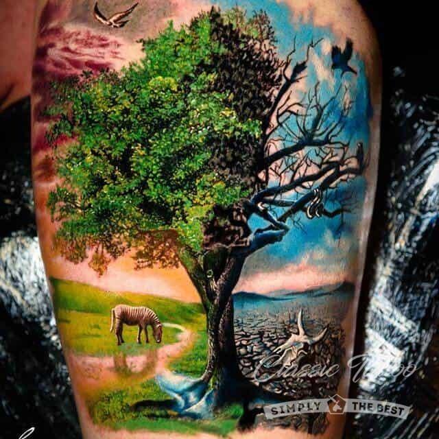 Цветная тату дерево жизни на плече мужчины в стиле реализм