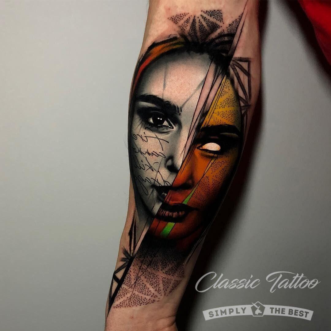Цветное фентези тату для мужчины на руке - девушка-демон
