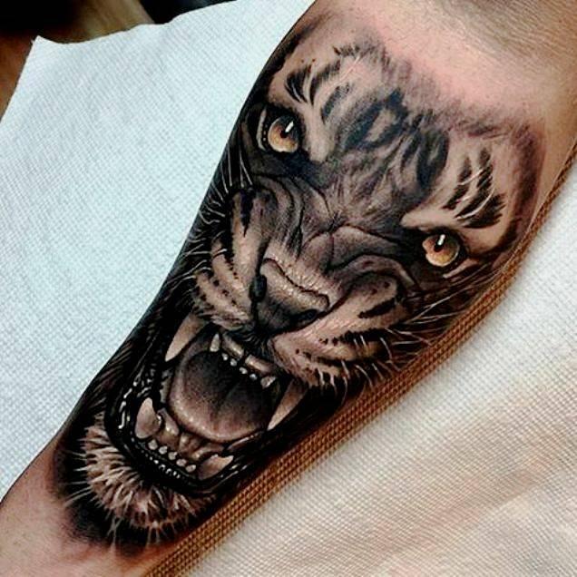Черно-белое тату тигр на предплечье мужчины, реализм