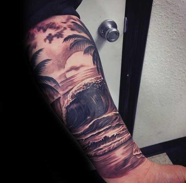Татуировка пейзаж в стиле реализм закат над морем и пальмы